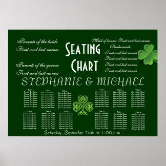 Irish Clover Wedding Seating Chart Bride Groom Poster