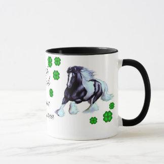Irish Cob horse with shamrock Mug