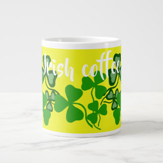 Irish coffee, Ireland shamrock, yellow, clover 9 Large Coffee Mug