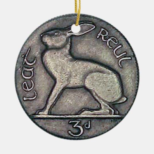 Irish Coin Christmas Ornament, Nollaig Shona Duit. Round