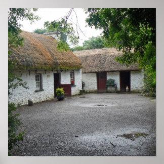 Irish cottage scene poster