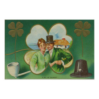 Irish Couple Clay Pipe Four Leaf Clover Blarney Posters
