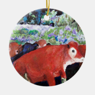 Irish Cows, Original Art, Ireland Christmas Ornament