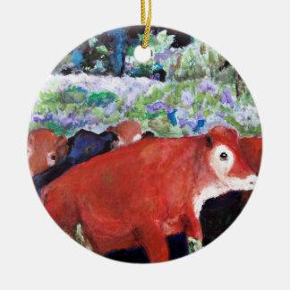 Irish Cows, Original Art, Ireland Round Ceramic Decoration