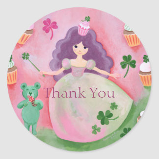 Irish Cupcake Princess Painting Thank You Round Sticker