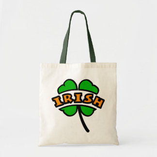 Irish Curved, 2 Colors, With 4-Leaf Clover, Cutout Tote Bag
