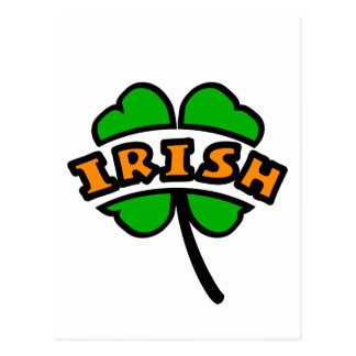 Irish Curved, 2 Colors, With 4-Leaf Clover, Cutout Postcard