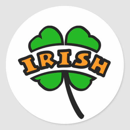 Irish Curved, 2 Colors, With 4-Leaf Clover, Cutout Round Sticker
