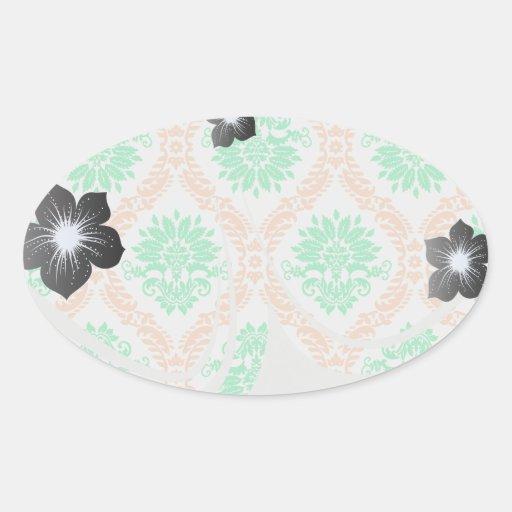 irish damask oval sticker