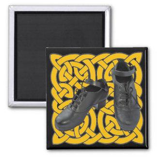 Irish Dance Hard Shoes on Celtic Knot Square Magnet