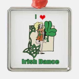 Irish dance heart Silver-Colored square decoration