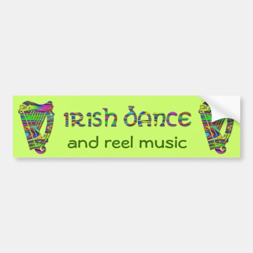 Irish Dance Rainbow Harps Ireland Music Sticker Bumper Stickers