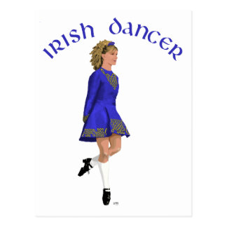 Irish Dancer Blonde in Blue Postcard