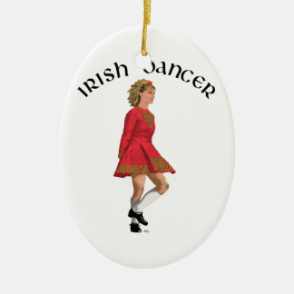 Irish Dancer Blonde in Red Christmas Ornament