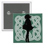 Irish Dancer Celtic Green Button