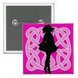 Irish Dancer Celtic Hot Pink Button