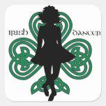 Irish Dancer Hardshoe/Forest Green Heart Shamrock Square Sticker