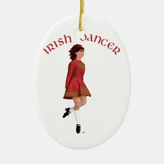 Irish Dancer in Red Christmas Ornament