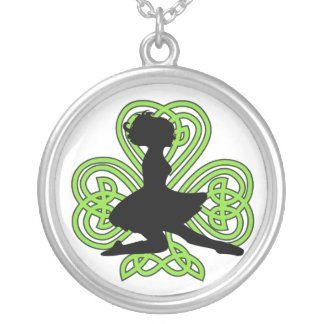 Irish Dancer Leaping Celtic Knot Heart Shamrock Silver Plated Necklace