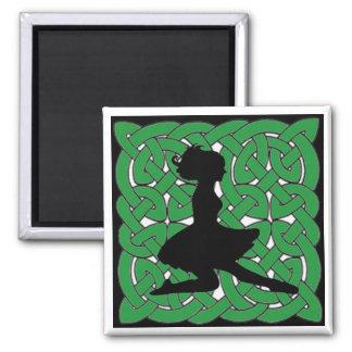 Irish Dancer on Green Celtic Knot Square Magnet