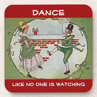 irish dancers vintage drink coaster