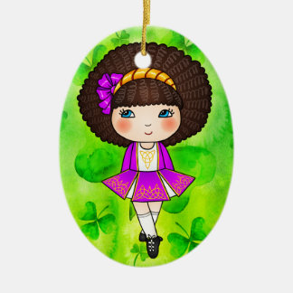 Irish dancing girl in violet dress christmas ornament