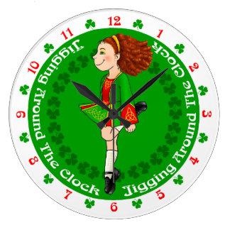 Irish dancing Large Clock