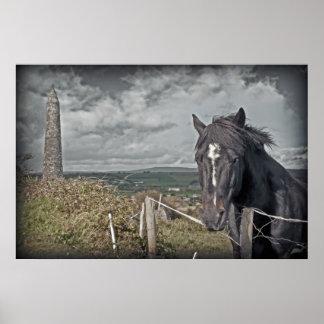 Irish dark horse and ancient round tower posters