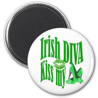 Irish diva kiss my shoes 6 cm round magnet