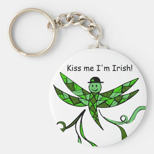 Irish Dragonfly, Kiss me I'm Irish! key Chain