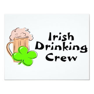 Irish Drinking Crew Beer And Clover 11 Cm X 14 Cm Invitation Card