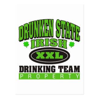 Irish Drinking Team Drunken State Postcard