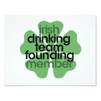 Irish Drinking Team Founding Member Clover 11 Cm X 14 Cm Invitation Card