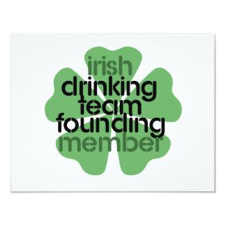 "Irish Drinking Team Founding Member Clover 4.25"" X 5.5"" Invitation Card"