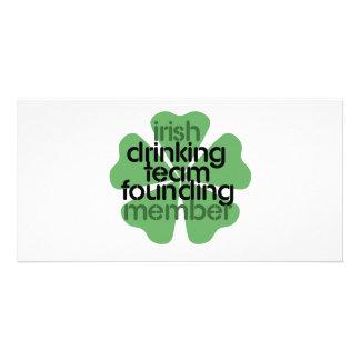 Irish Drinking Team Founding Member Clover Custom Photo Card