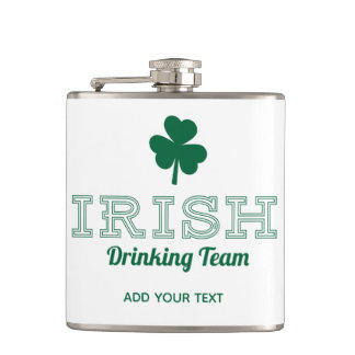 Irish Drinking Team Funny St. Patricks Day Hip Flask