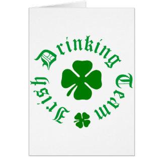 Irish Drinking Team Shamrock Greeting Card