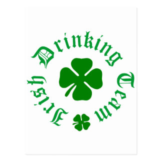 Irish Drinking Team Shamrock Postcard