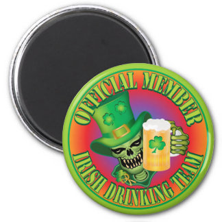 Irish Drinking Team Skull 6 Cm Round Magnet