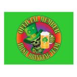 Irish Drinking Team Skull Postcard