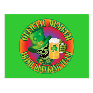 Irish Drinking Team Skull Postcard