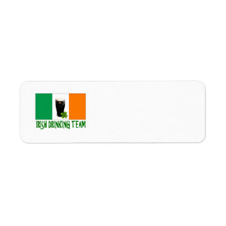 Irish Drinking Team St Patricks or St Paddys Flag. Return Address Label