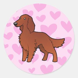Irish / English / Gordon / R&W Setter Love Round Sticker