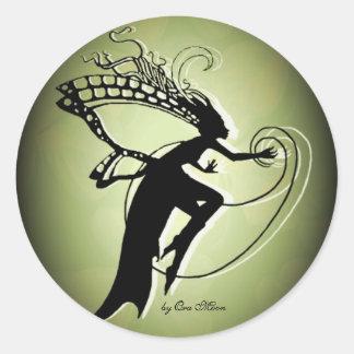 Irish Faery Silhouette Round Sticker