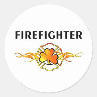 IRISH Firefighter Round Sticker