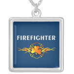Irish Firemen Square Pendant Necklace