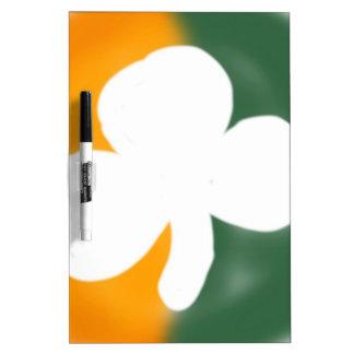 Irish flag and shamrock. dry erase board