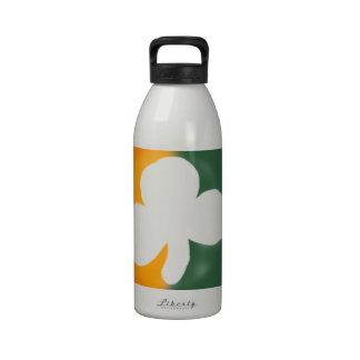 Irish flag and shamrock. water bottle