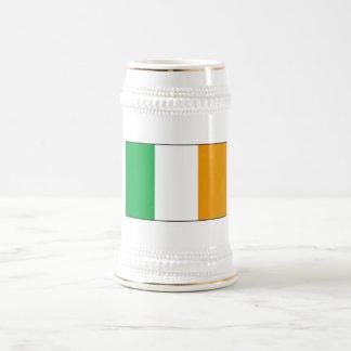 Irish Flag Beer Stein with Shamrocks