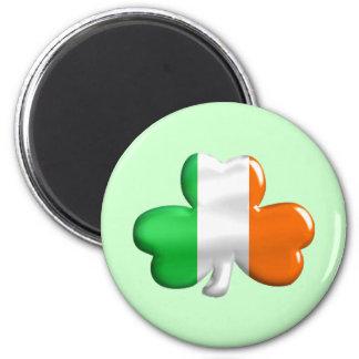 Irish Flag Clover 6 Cm Round Magnet